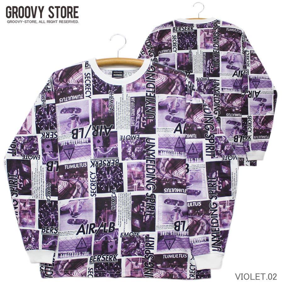ロンT ワイド ビッグ シルエット ランダム 転写 カラーフォト ストリート ロングスリーブ Tシャツ 大きいサイズ レディース OK 82