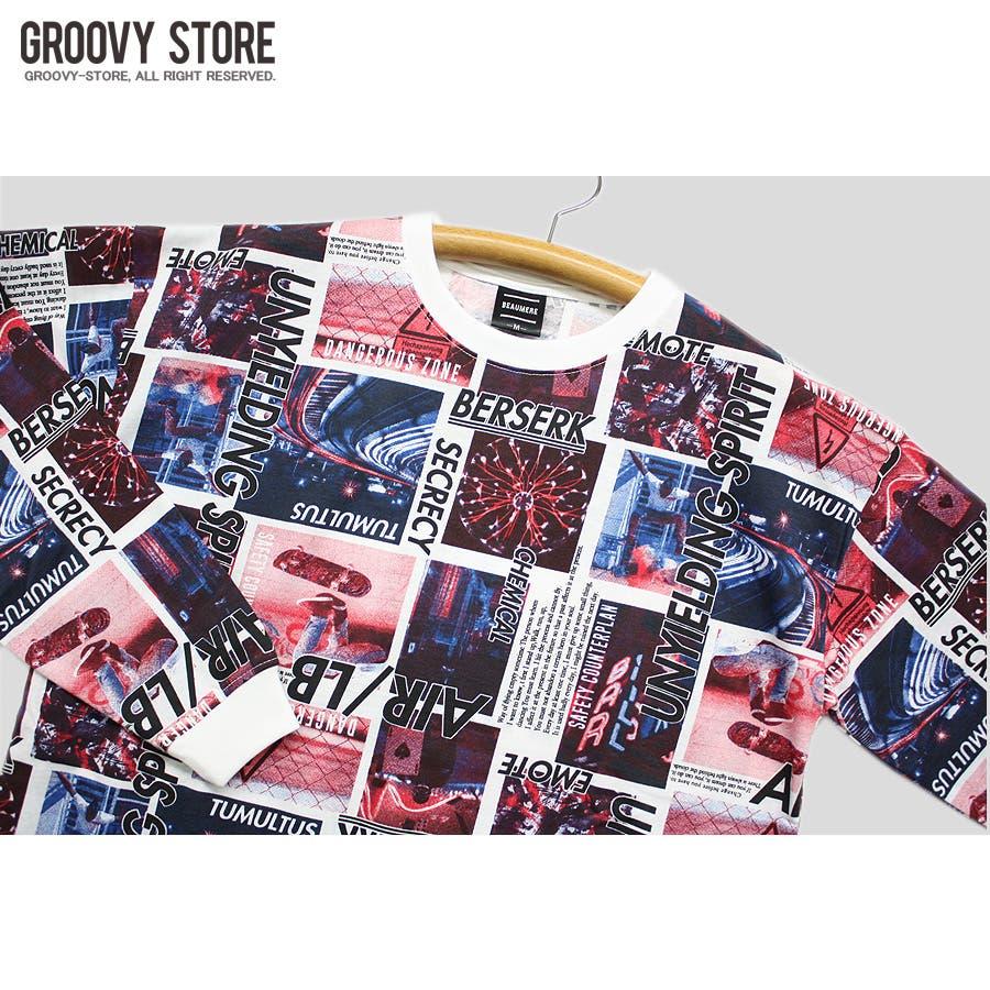 ロンT ワイド ビッグ シルエット ランダム 転写 カラーフォト ストリート ロングスリーブ Tシャツ 大きいサイズ レディース OK 5