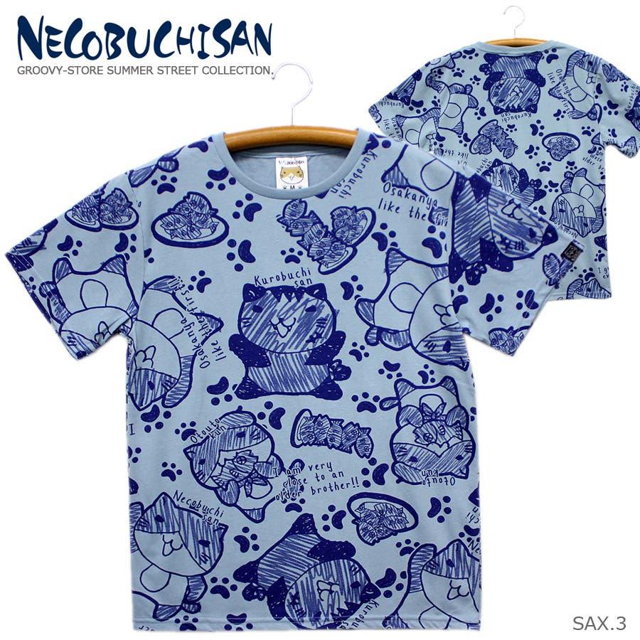 猫渕さん ねこぶちさん 総柄 クルーネック 半袖 Tシャツ レディース OK 66