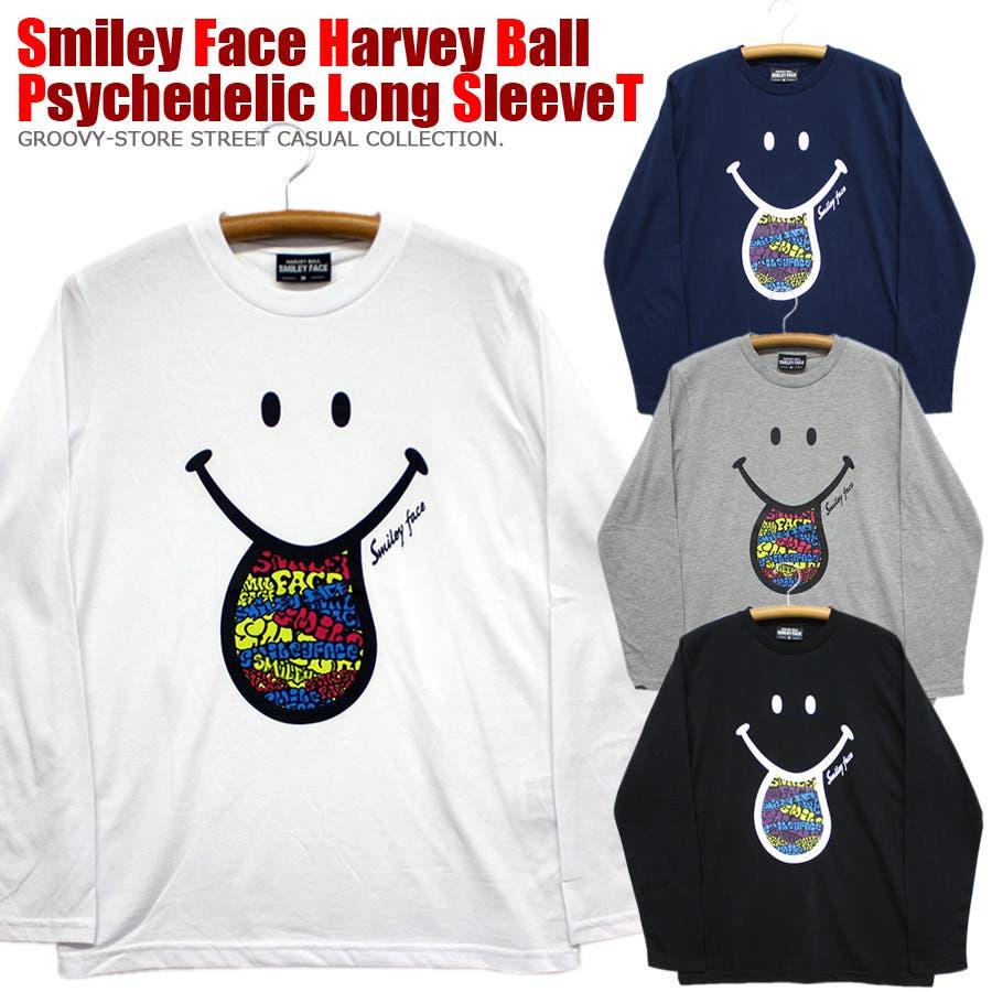 SMILEY FACE サイケデリック スマイル ロングスリーブ Tシャツ レディース OK 1