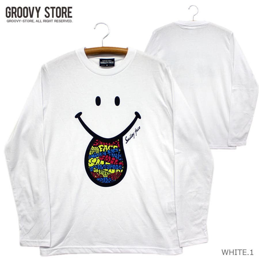 SMILEY FACE サイケデリック スマイル ロングスリーブ Tシャツ レディース OK 16