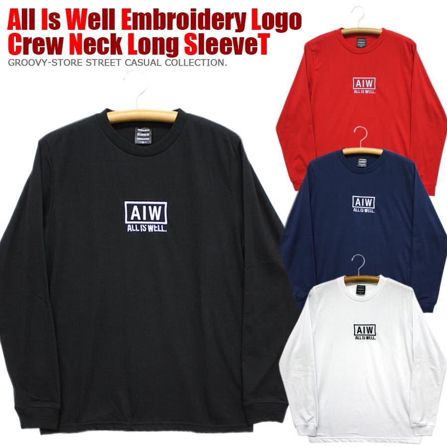 ALL IS WELL ボックス 刺繍ロゴ ストリート ロングスリーブ Tシャツ ロンT レディース OK 1