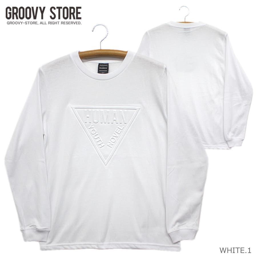 HUMAN エンボス加工 ロゴ ストリート ロングスリーブ Tシャツ ロンT レディース OK 16