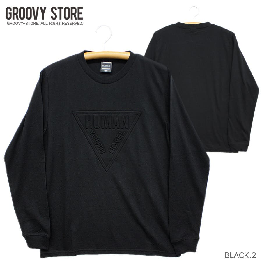 HUMAN エンボス加工 ロゴ ストリート ロングスリーブ Tシャツ ロンT レディース OK 21