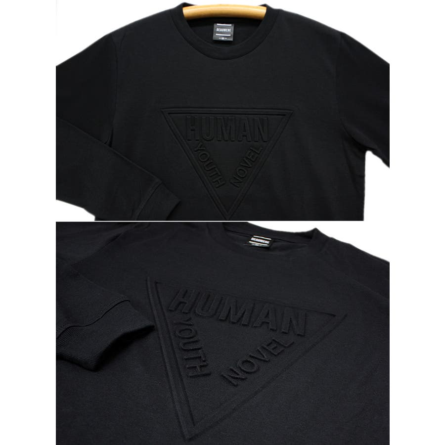 HUMAN エンボス加工 ロゴ ストリート ロングスリーブ Tシャツ ロンT レディース OK 7