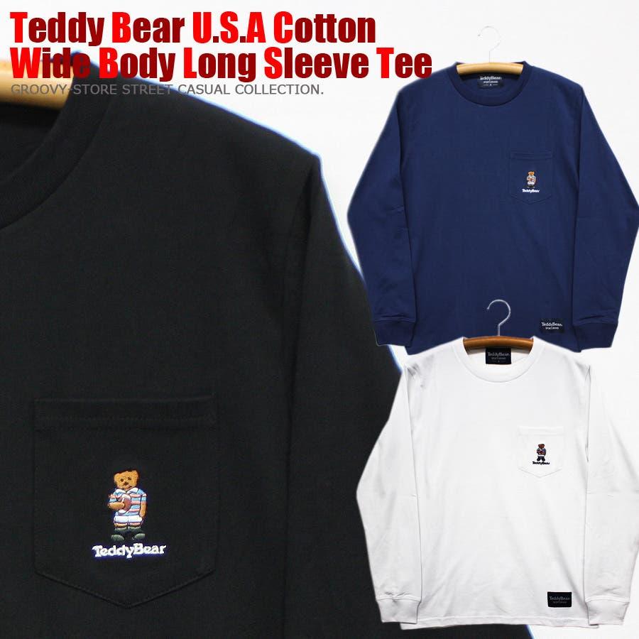 刺繍 TEDDY BEAR USA コットン ポケ付き ロングスリーブT シャツ ロンT テディベア レディース OK 1