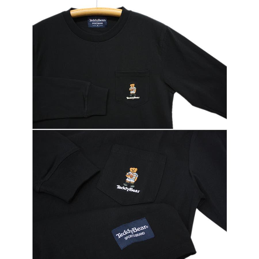 刺繍 TEDDY BEAR USA コットン ポケ付き ロングスリーブT シャツ ロンT テディベア レディース OK 5