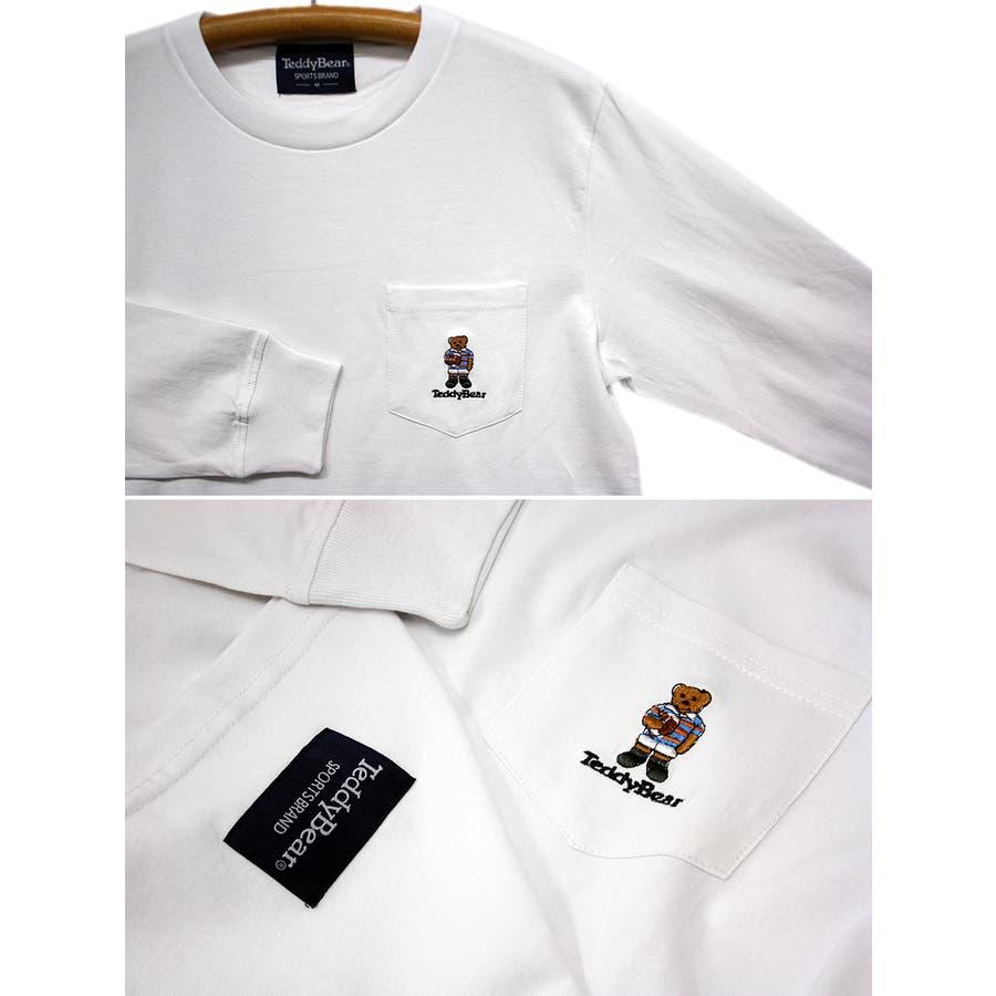 刺繍 TEDDY BEAR USA コットン ポケ付き ロングスリーブT シャツ ロンT テディベア レディース OK 6