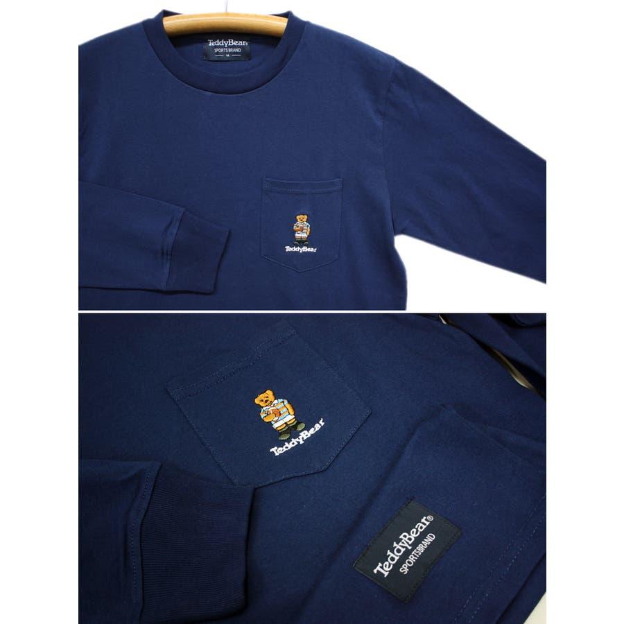 刺繍 TEDDY BEAR USA コットン ポケ付き ロングスリーブT シャツ ロンT テディベア レディース OK 7
