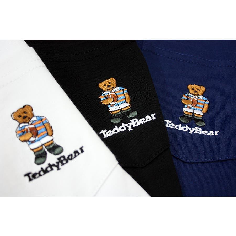 刺繍 TEDDY BEAR USA コットン ポケ付き ロングスリーブT シャツ ロンT テディベア レディース OK 8