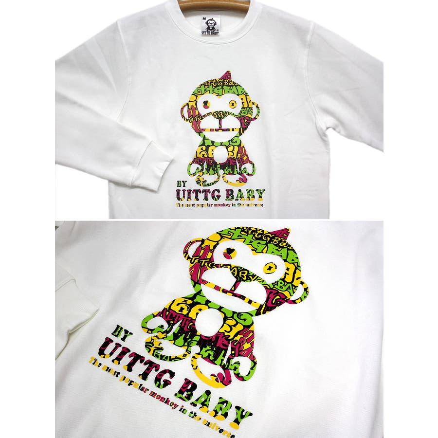 UITTG BABY ストリートアート サイケデリック ロゴ 裏起毛 ストリート クルーネック スウェット トレーナー レディース OK 6