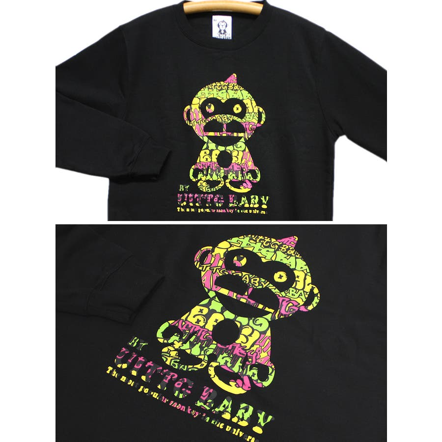 UITTG BABY ストリートアート サイケデリック ロゴ 裏起毛 ストリート クルーネック スウェット トレーナー レディース OK 7