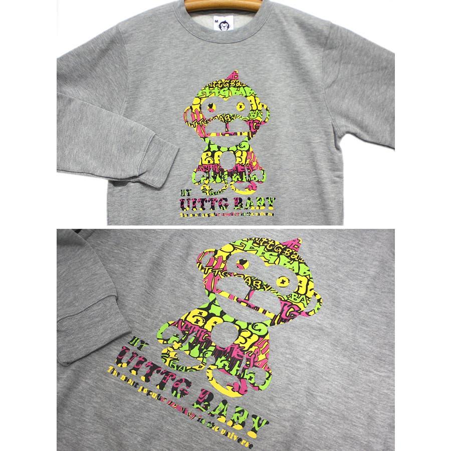 UITTG BABY ストリートアート サイケデリック ロゴ 裏起毛 ストリート クルーネック スウェット トレーナー レディース OK 9