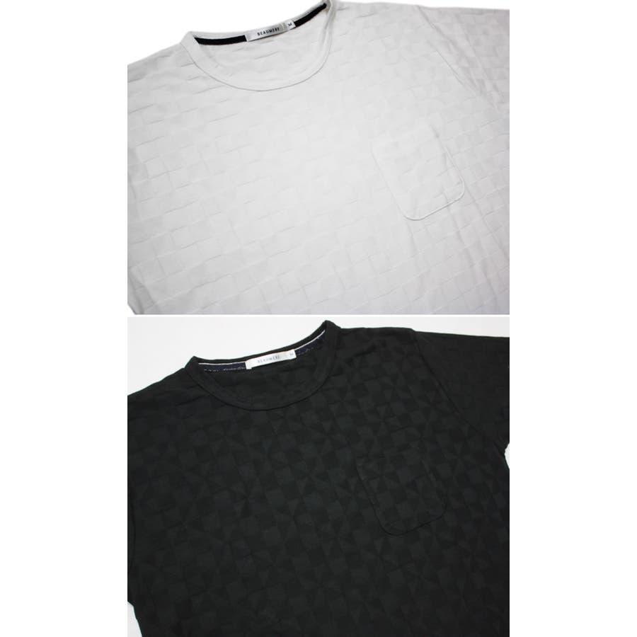 Tシャツ モザイク柄 ジャガード 半袖 Tシャツ 無地 半袖 Tシャツ キレイ系 5