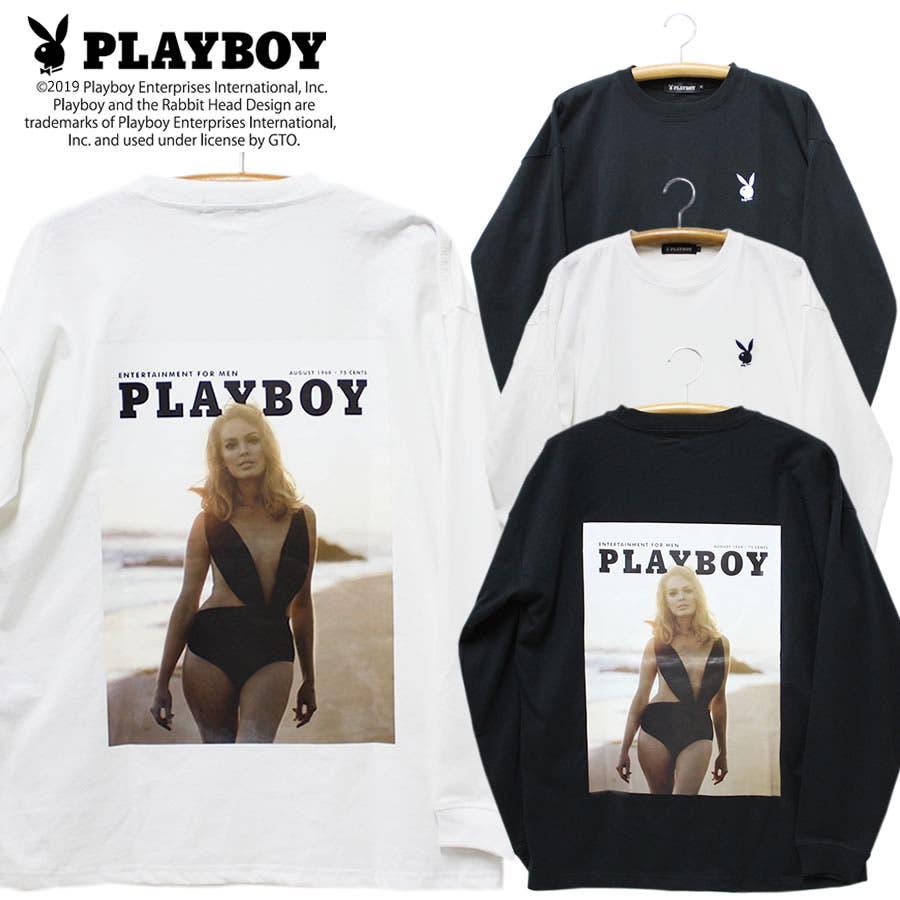 ロンT PLAYBOY ワイド ビッグ シルエット フォトプリント ロングスリーブ Tシャツ 大きいサイズ レディースOK 1