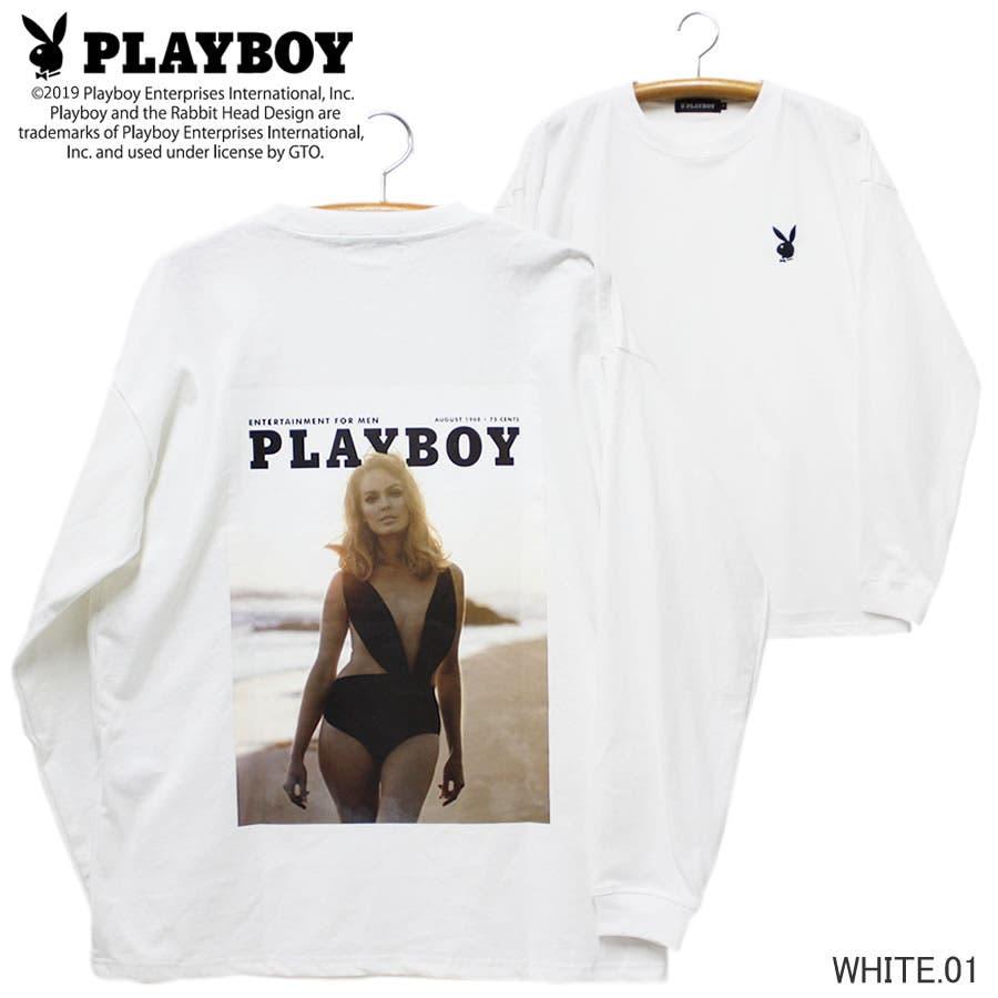 ロンT PLAYBOY ワイド ビッグ シルエット フォトプリント ロングスリーブ Tシャツ 大きいサイズ レディースOK 16