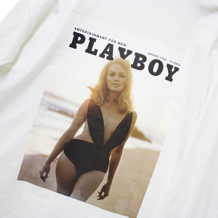 ロンT PLAYBOY ワイド ビッグ シルエット フォトプリント ロングスリーブ Tシャツ 大きいサイズ レディースOK 4