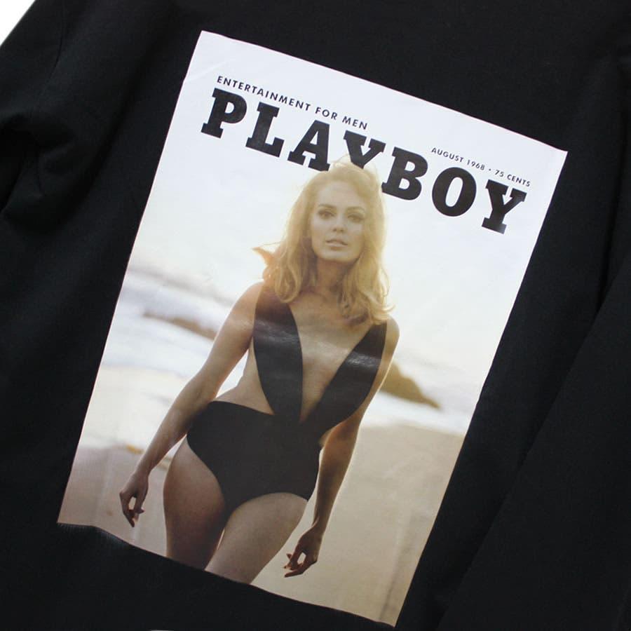 ロンT PLAYBOY ワイド ビッグ シルエット フォトプリント ロングスリーブ Tシャツ 大きいサイズ レディースOK 5