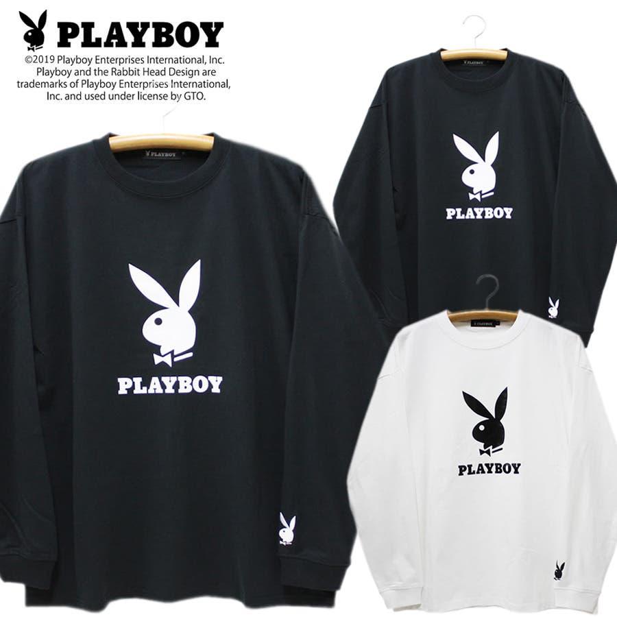 ロンT PLAYBOY 袖刺繍 BUNNY ワイド ビッグ シルエット ロングスリーブ Tシャツ 大きいサイズ レディースOK 1
