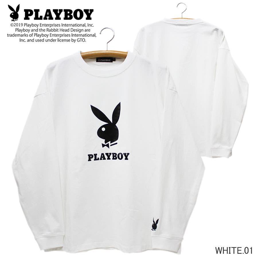 ロンT PLAYBOY 袖刺繍 BUNNY ワイド ビッグ シルエット ロングスリーブ Tシャツ 大きいサイズ レディースOK 16