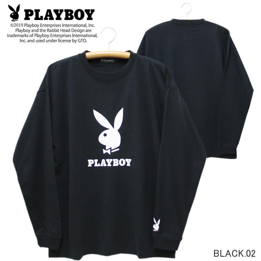 ロンT PLAYBOY 袖刺繍 BUNNY ワイド ビッグ シルエット ロングスリーブ Tシャツ 大きいサイズ レディースOK 21