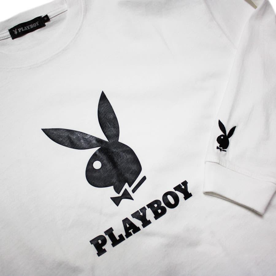 ロンT PLAYBOY 袖刺繍 BUNNY ワイド ビッグ シルエット ロングスリーブ Tシャツ 大きいサイズ レディースOK 4