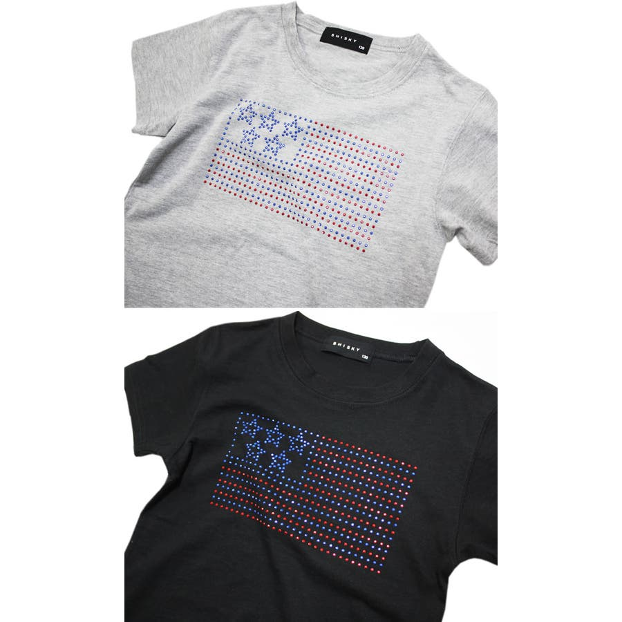 Tシャツ 星条旗 ラインストーン 半袖 Tシャツ 子供服 子ども服 キッズ 男の子 星条旗 ラインストーン 半袖 Tシャツ 4