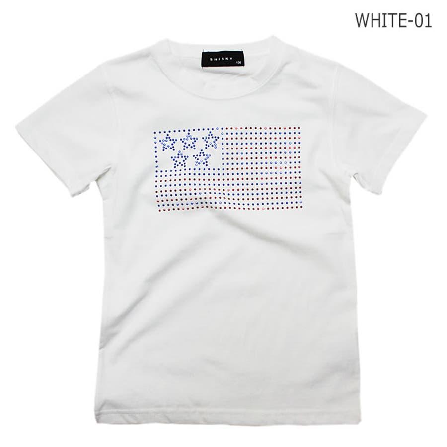 Tシャツ 星条旗 ラインストーン 半袖 Tシャツ 子供服 子ども服 キッズ 男の子 星条旗 ラインストーン 半袖 Tシャツ 16