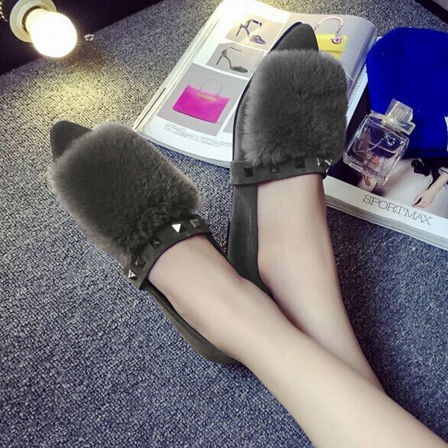 靴 シューズ ファー ファーシューズ フラットシューズ フラット パンプス ペタンコ ペタンコシューズ ポインテッドトゥ スタッズ 5