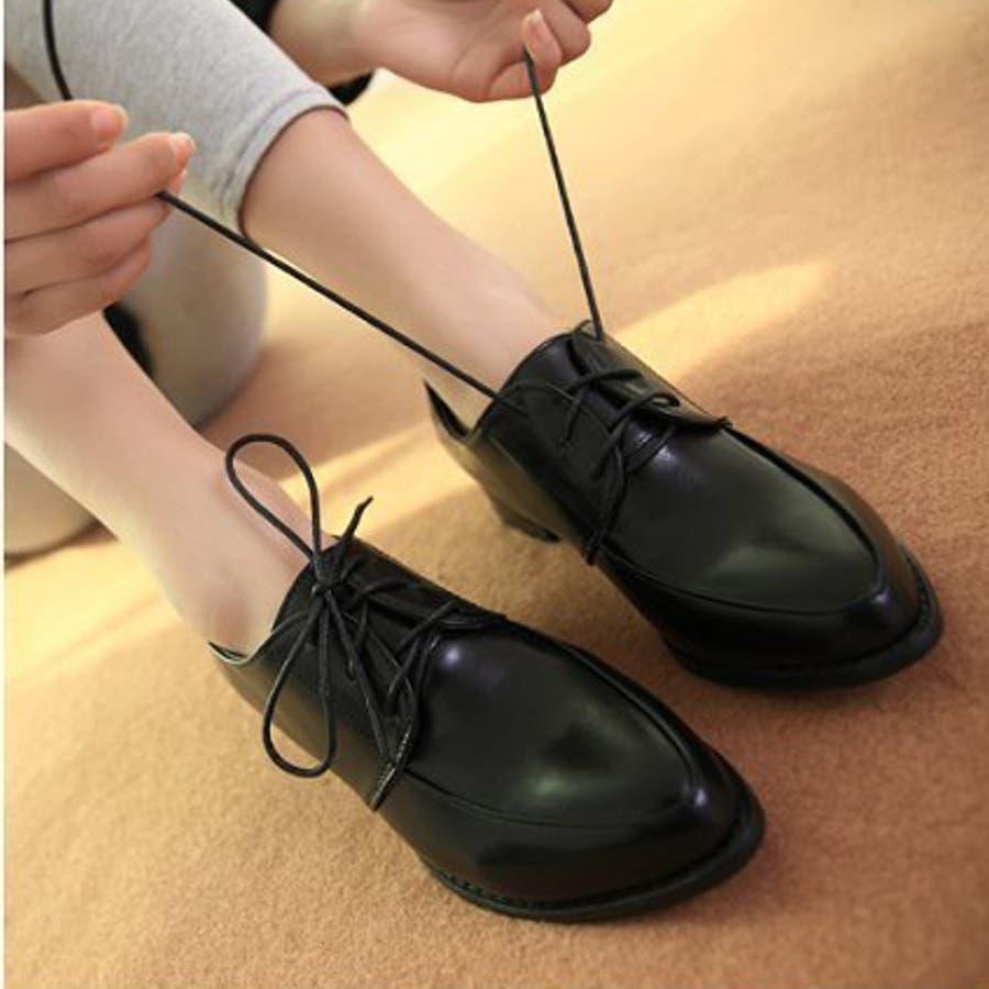 レディース シューズ 革靴 レースアップ 紐靴 ぺたんこ フラットシューズ ( サイズ 22.5 23 23.5 24