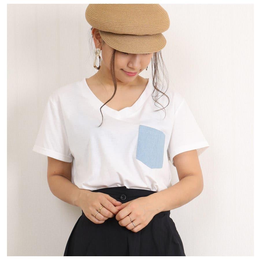 [春夏][トップス][夏新作 夏 夏服 トップス Tシャツ 半袖 カットソー Vネック ポケット 胸 胸ポケット 異素材 レディースカジュアル アウトドア さらさら シンプル 大人可愛い かわいい デニムポケット デニムダンガリー]デニムポケットVネックTシャツ[180103] 2