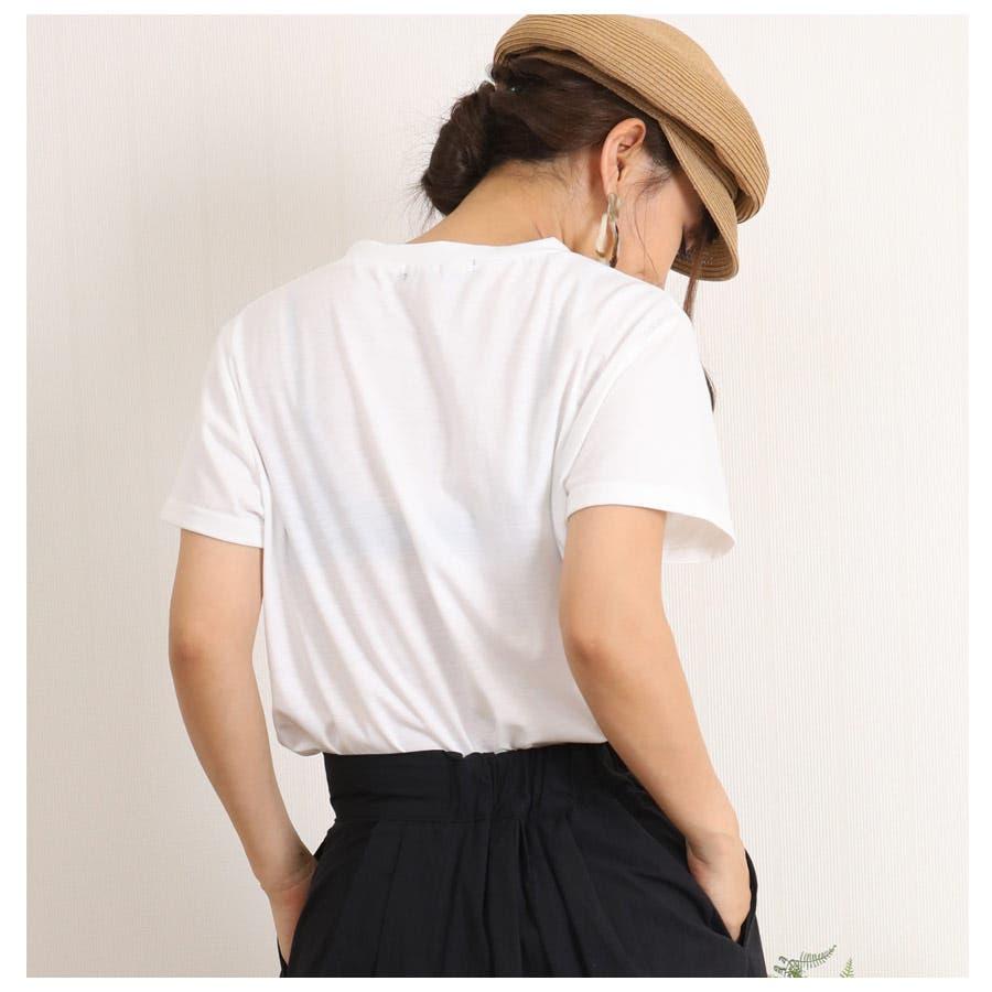 [春夏][トップス][夏新作 夏 夏服 トップス Tシャツ 半袖 カットソー Vネック ポケット 胸 胸ポケット 異素材 レディースカジュアル アウトドア さらさら シンプル 大人可愛い かわいい デニムポケット デニムダンガリー]デニムポケットVネックTシャツ[180103] 4