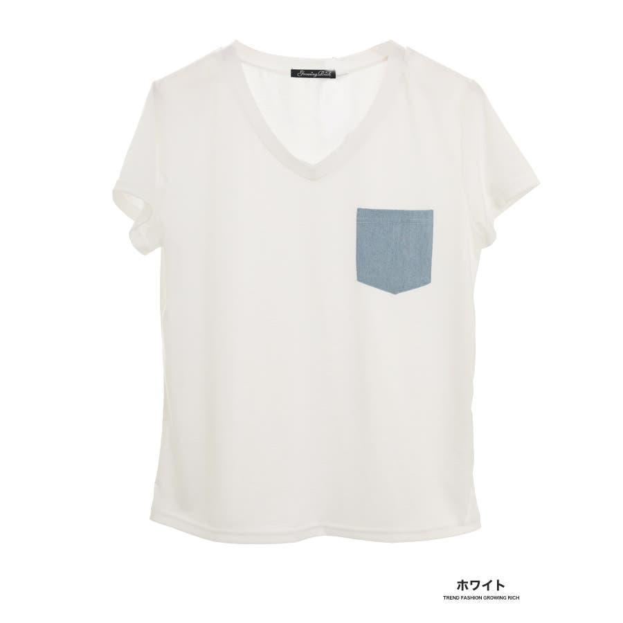 [春夏][トップス][夏新作 夏 夏服 トップス Tシャツ 半袖 カットソー Vネック ポケット 胸 胸ポケット 異素材 レディースカジュアル アウトドア さらさら シンプル 大人可愛い かわいい デニムポケット デニムダンガリー]デニムポケットVネックTシャツ[180103] 1