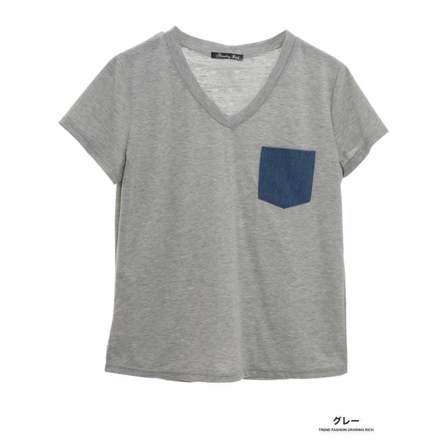 [春夏][トップス][夏新作 夏 夏服 トップス Tシャツ 半袖 カットソー Vネック ポケット 胸 胸ポケット 異素材 レディースカジュアル アウトドア さらさら シンプル 大人可愛い かわいい デニムポケット デニムダンガリー]デニムポケットVネックTシャツ[180103] 3