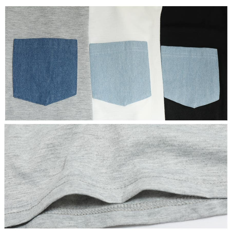 [春夏][トップス][夏新作 夏 夏服 トップス Tシャツ 半袖 カットソー Vネック ポケット 胸 胸ポケット 異素材 レディースカジュアル アウトドア さらさら シンプル 大人可愛い かわいい デニムポケット デニムダンガリー]デニムポケットVネックTシャツ[180103] 5