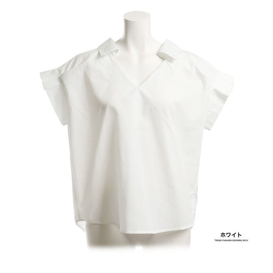 [トップス][春夏 夏 夏服 ブラウス スキッパー シャツ 半袖 ストライプ リボン 前後 2ウェイ 2way 袖 袖口 プリーツ抜き襟 無地 白 レディース カジュアル 通勤 オフィス かわいい 大人可愛いきれいめ]バックリボン袖プリーツスキッパーシャツ[180306] 4
