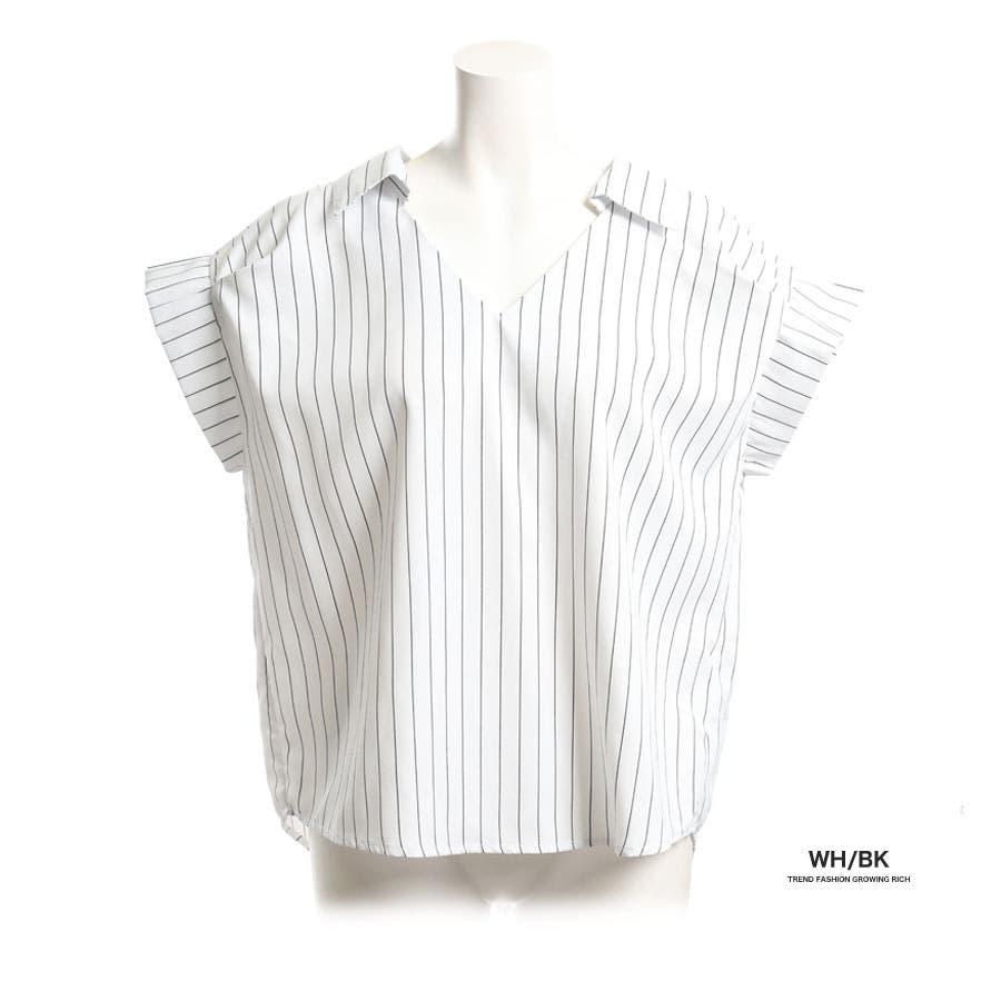 [トップス][春夏 夏 夏服 ブラウス スキッパー シャツ 半袖 ストライプ リボン 前後 2ウェイ 2way 袖 袖口 プリーツ抜き襟 無地 白 レディース カジュアル 通勤 オフィス かわいい 大人可愛いきれいめ]バックリボン袖プリーツスキッパーシャツ[180306] 3