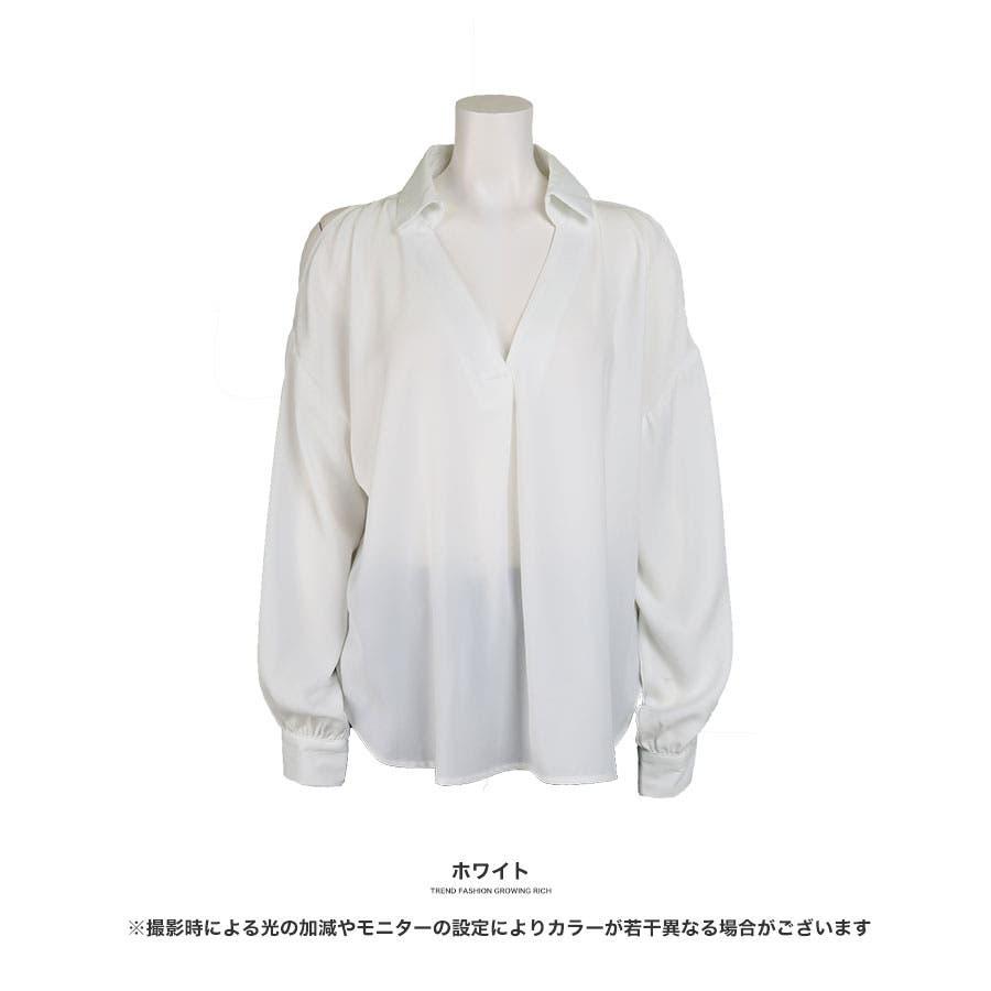 [トップス]ショルダーカットスキッパーシャツ[190120][ブラウス シャツ 開襟 プルオーバー カットソー ショルダーカットオープンショルダー 肩開き 肩出し 肩見せ 肩が見える 肩が切れてる チラ見え] 3