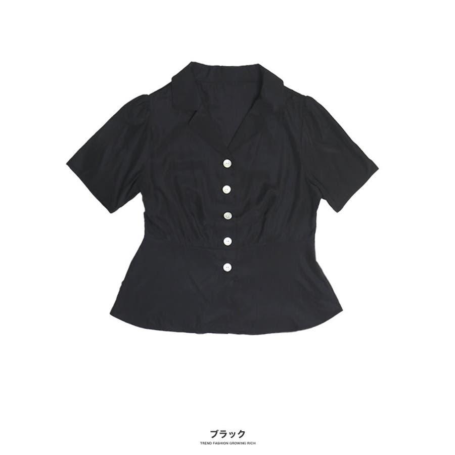 [トップス]オープンカラーペプラム調シャツ[190504][ブラウス ボタン 開襟 スキッパー 涼感 速乾 ペプラム フレア 切り替えひらひら 広がる 裾] 21