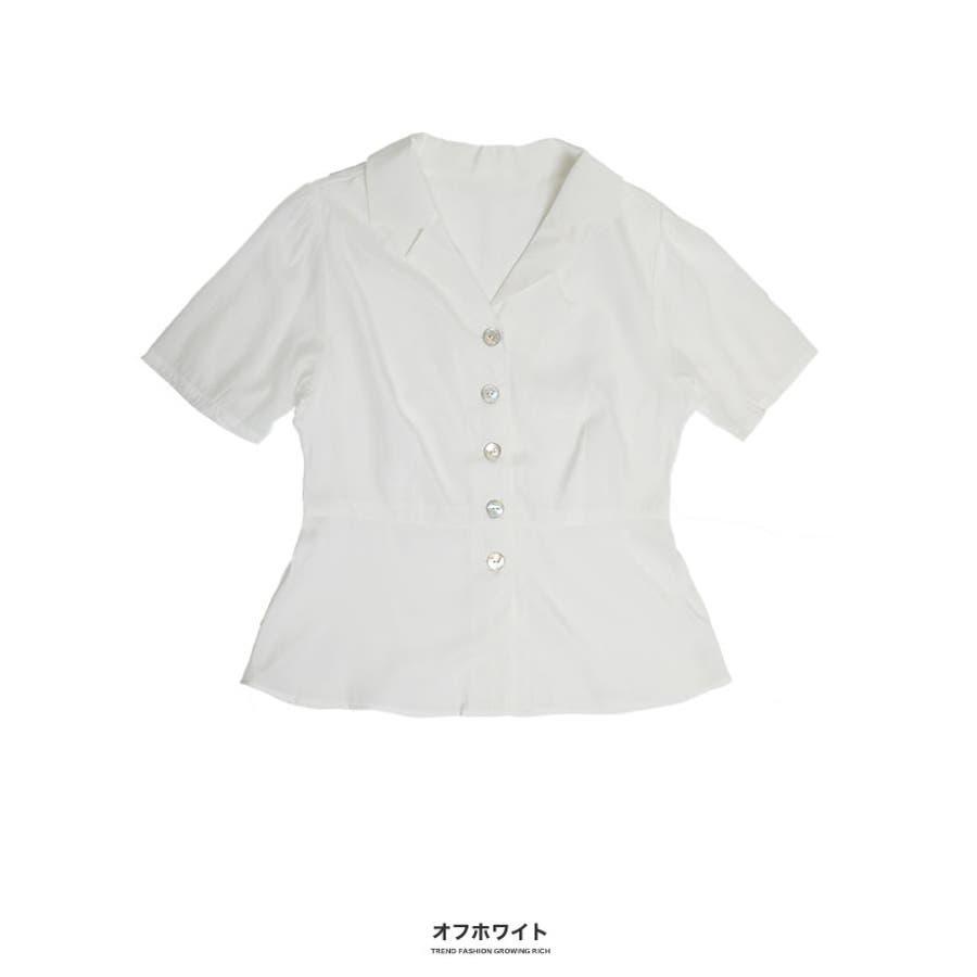 [トップス]オープンカラーペプラム調シャツ[190504][ブラウス ボタン 開襟 スキッパー 涼感 速乾 ペプラム フレア 切り替えひらひら 広がる 裾] 17