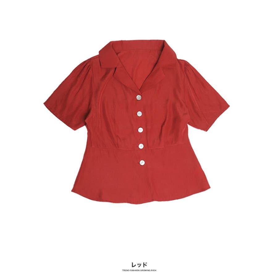 [トップス]オープンカラーペプラム調シャツ[190504][ブラウス ボタン 開襟 スキッパー 涼感 速乾 ペプラム フレア 切り替えひらひら 広がる 裾] 94