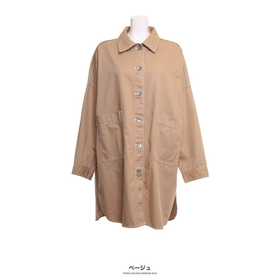 [トップス][レディース シャツ アウター 羽織り ビッグ オーバーサイズ オーバーシルエ ビッグサイズ 大きい ゆったり大きいサイズ LL XL 3L ダボダボ ブカブカ 無地 カジュアル メンズライク デカい おっきい 襟付きボタン]ツイルBIGシャツ[190655] 41