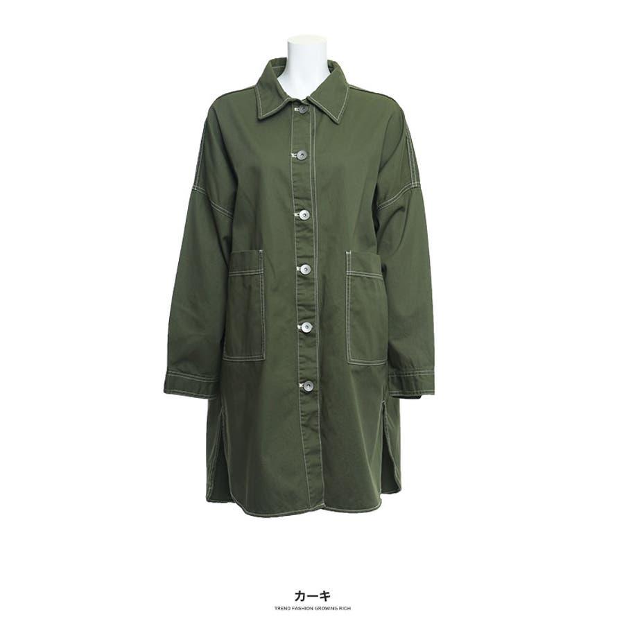 [トップス][レディース シャツ アウター 羽織り ビッグ オーバーサイズ オーバーシルエ ビッグサイズ 大きい ゆったり大きいサイズ LL XL 3L ダボダボ ブカブカ 無地 カジュアル メンズライク デカい おっきい 襟付きボタン]ツイルBIGシャツ[190655] 53