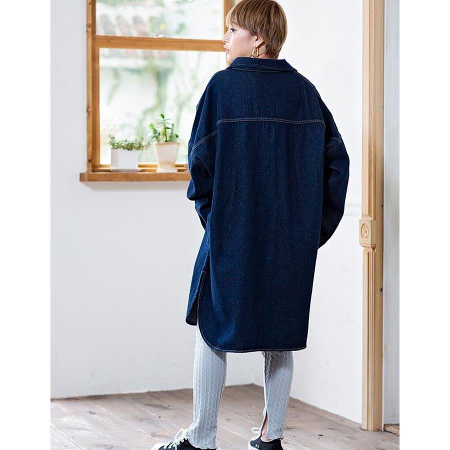 [トップス][レディース シャツ アウター 羽織り デニム ジージャン CPO CPOシャツ CPOジャケット ビッグ オーバーサイズオーバーシルエ 大きい ゆったり 大きいサイズ LL XL 3L ダボダボ ブカブカ カジュアル メンズライクデカい]デニムBIGシャツ[190656] 4