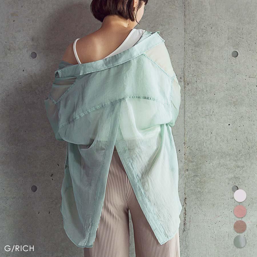 トップス シースルー ブラウス シャツ 透け シアー トレンド カジュアル 長袖 スリット 清涼 重ね着 羽織り 日焼け防止 UV対策/シースルーバックスリットシャツ[200206] 1