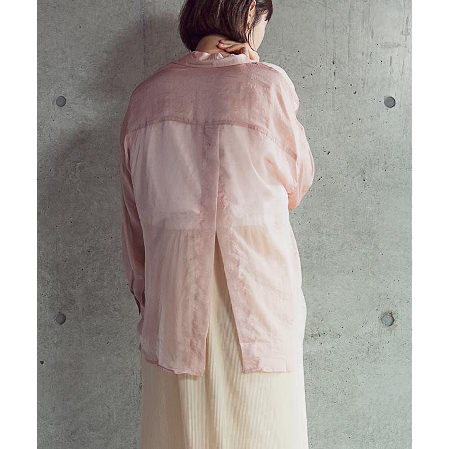 トップス シースルー ブラウス シャツ 透け シアー トレンド カジュアル 長袖 スリット 清涼 重ね着 羽織り 日焼け防止 UV対策/シースルーバックスリットシャツ[200206] 4