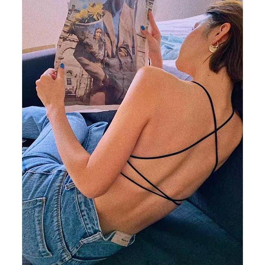 インナー ブラトップ シームレスブラ バッククロス キャミ カップ付き パット入り 背中 開き 響かない 見せブラ リブ カラー/ナローストラップバッククロスブラ[200713] 21