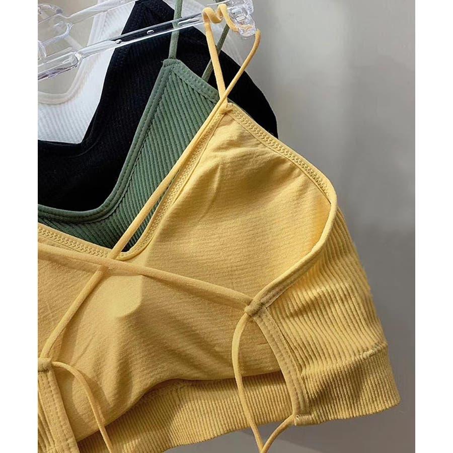 インナー ブラトップ シームレスブラ バッククロス キャミ カップ付き パット入り 背中 開き 響かない 見せブラ リブ カラー/ナローストラップバッククロスブラ[200713] 83