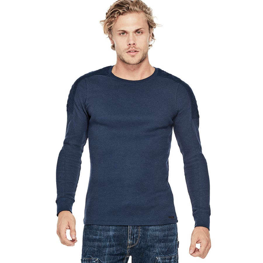[GUESS] RAID FAUX-SUEDE QUILTED PATCH WAFFLE CREW 1