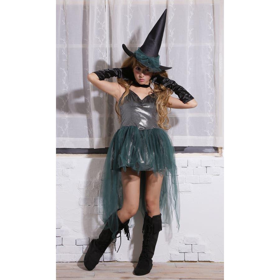 ハロウィン コスプレ ウィッチ 魔女 グリーン コスチューム 衣装 大きいサイズ 仮装 悪魔 仮装用 ハロウィーン ハロウインHALLOWEEN  3